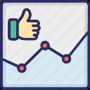 analytics, impression, like, statistics icon