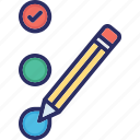 check mark, pencil, rating, tick mark icon