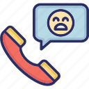 call, customer, handphone, unhappy icon