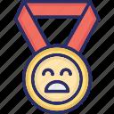 award, badge, medal, unhappy