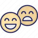 emoji, emoticon, happy, unhappy icon