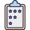 clipboard, performance, rating, stars icon