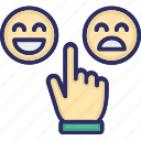 hand, happy, rating, select, unhappy icon