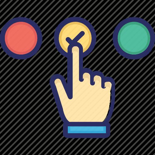 confirm, interaction, preferences, selection icon