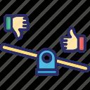 dislike, interaction, like, scale icon