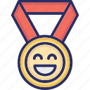 happy, interaction, medal, preferences icon