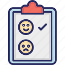 clipboard, happy, interact, unhappy icon