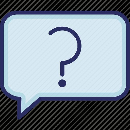 faq, message, question bubble, question mark icon