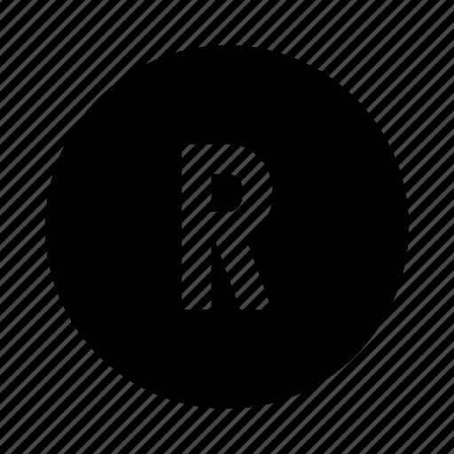 brand, branding, business, r, registered, trademark icon