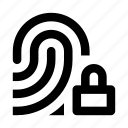 blocked, fingerprint, id, lock, scan, secure icon