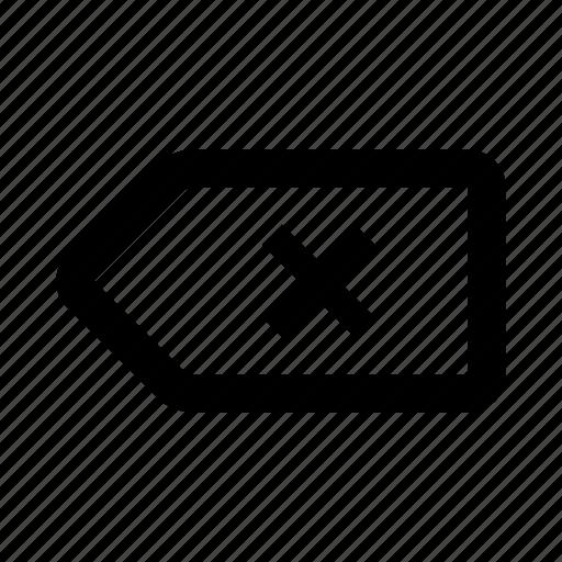 delete, label, remove, tag icon