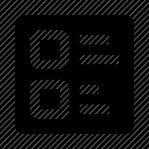 block, list icon