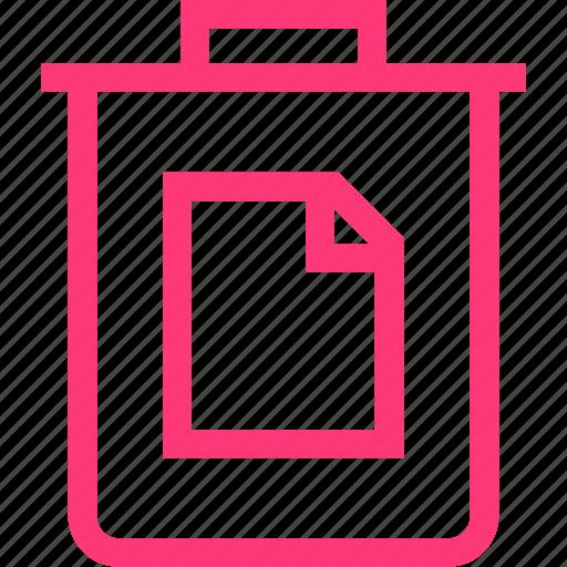 document, interface, trash icon