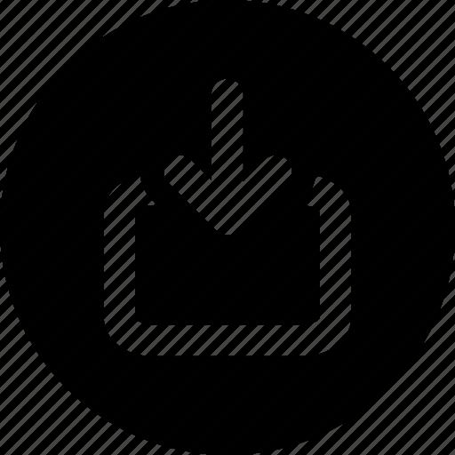 arrows, direction, down arrow, download, downloading, inbox, orientation icon