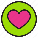 circle, heart, sign icon
