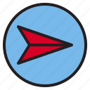 circle, navigation, sign icon