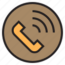 circle, phone, sign icon