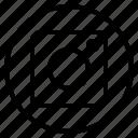 camera, circle, sign icon