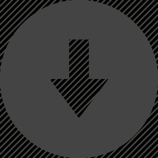 arrow, circular, control, down, interface, ui icon