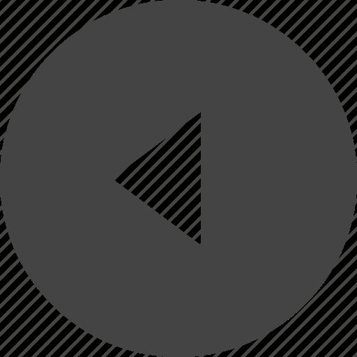 arrow, circular, control, interface, left, triangle, ui icon