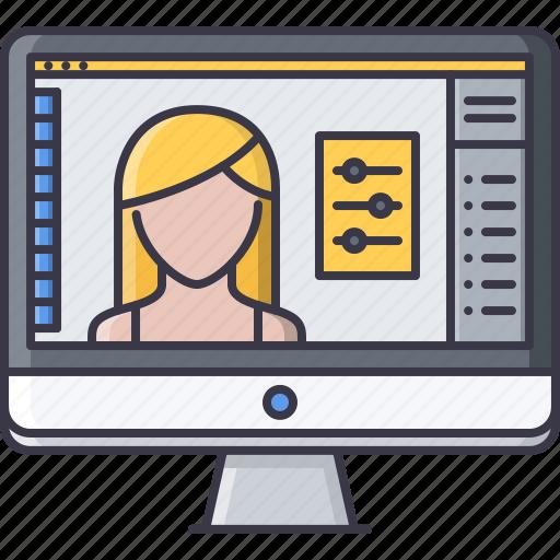 design, interface, monitor, photo, program, retouching icon