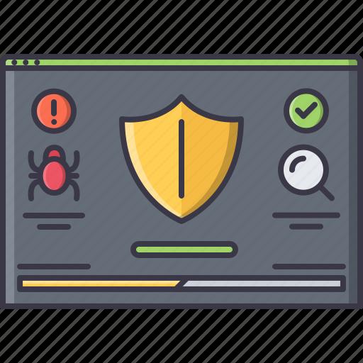 antivirus, interface, program, protection, shield, window icon