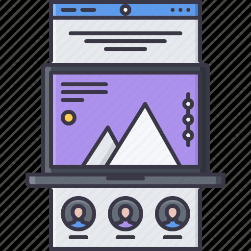 interface, landing, laptop, page, web, website, window icon