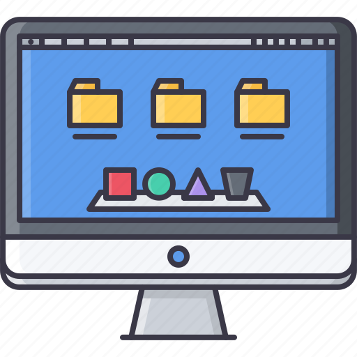 computer, decktop, folder, interface, monitor, operating, system icon