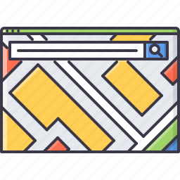 interface, map, page, search, service, website, window icon
