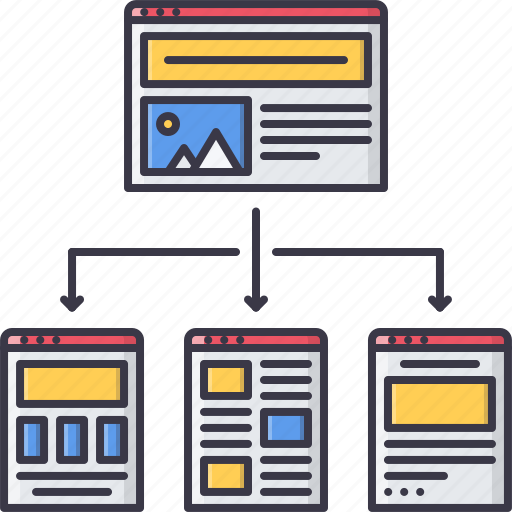 interface, page, program, structure, website, window icon