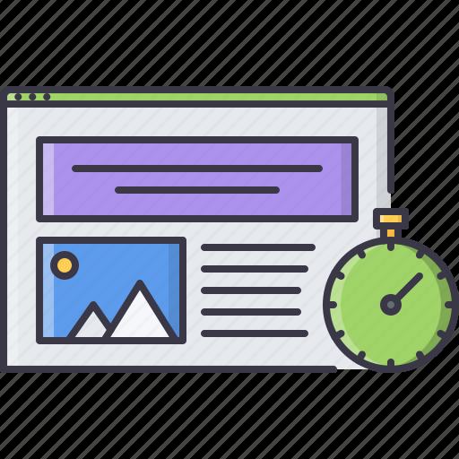 interface, page, speed, stopwatch, web, website, window icon