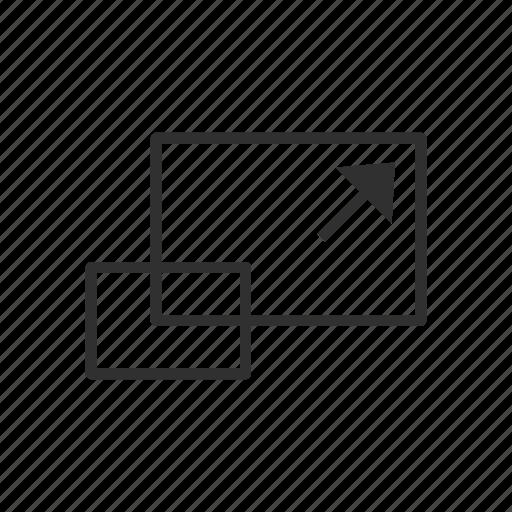 arrow, photoshop, scale tool, square icon