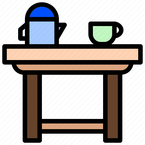 cocktail, coffee, furniture, low, table, wood icon