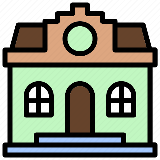 atheneum, bibliotheca, building, library, public, stage icon