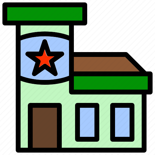 building, office, police, security, station icon