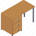 computer desk, computer table, drawer table, office furniture, study table icon