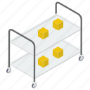 food serving cart, food serving trolley, hostess trolley, hotel trolley, room services cart icon
