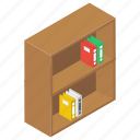 book rack, bookshelf, educational books, library, reading room, study room icon