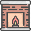 burn, fire, fireplace, house, interior, living room, warm icon