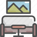 furniture, house, interior, living room, picture, sofa, table icon