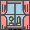 cactus, curtain, furniture, house, interior, pot, window icon