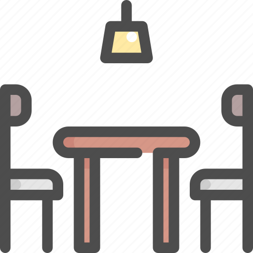 chair, furniture, house, interior, lamp, seat, table icon