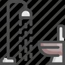 bathroom, furniture, house, hygiene, interior, shower, toilet icon