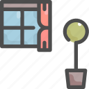 curtain, furniture, house, interior, pot, tree, window icon