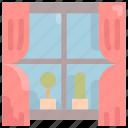 building, cactus, furniture, home, house, interior, window icon