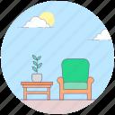 chair, interior decoration, room furniture, room interior, table icon