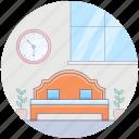 bed, bedroom, furnished room, living room, room furniture icon
