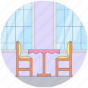 dining table, dinner table, furniture, kitchen table, restaurant table icon