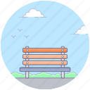 bench, chair, outdoor furniture, outdoor garden bench, picnic table, wooden bench icon