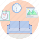 couch, furniture, interior, lounge, office lounge, sofa icon